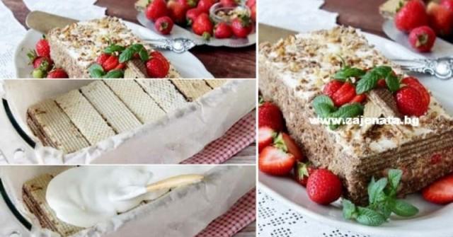 Мега вкусна торта с обикновени вафли – ред крем, ред вафли, ред любов и става фантазия: