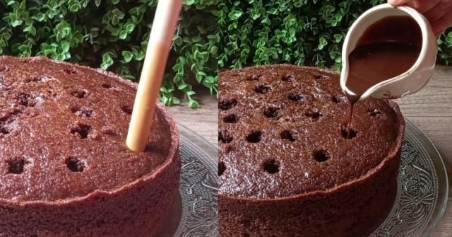 Шоколадово торта на дупки! Пухкав блат, пропит с много шоколадов сироп: